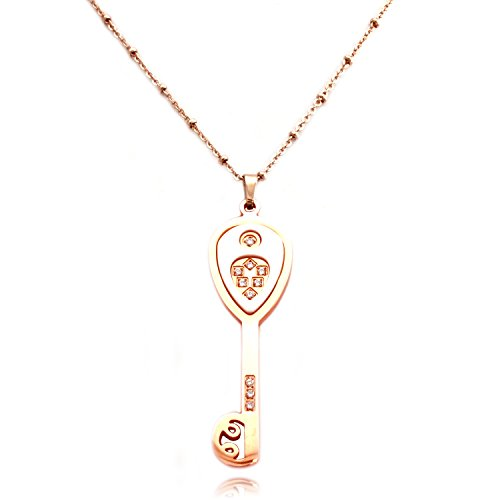 TIONEER Rose Gold Plated Stainless Steel White Ceramic Element Key Charm - Key Tiffany Gold Rose