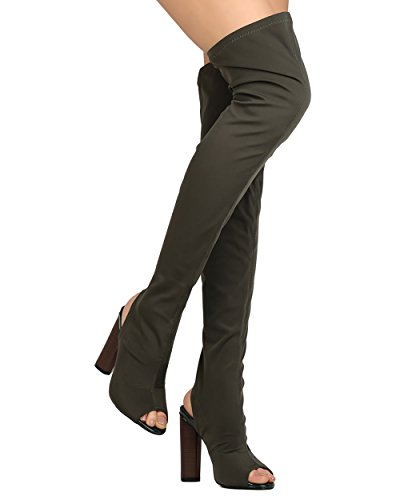 CAPE ROBBIN Women Thigh High Peep Toe Cutaway Chunky Heel Boot GA87 - Olive (Size: 9.0)