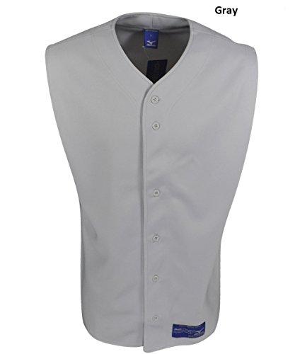 Mens Full Button Sleeveless Jersey (Mizuno Men's Full Button Sleeveless Baseball Jersey, Grey, X-Small)