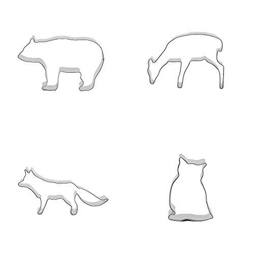 (4 Metal Cookie Cutter Set Owl Nighthawk Wolf Dog Deer Teddy Bear Biscuit Pastry Fondant Gingerbread Cake Mold)