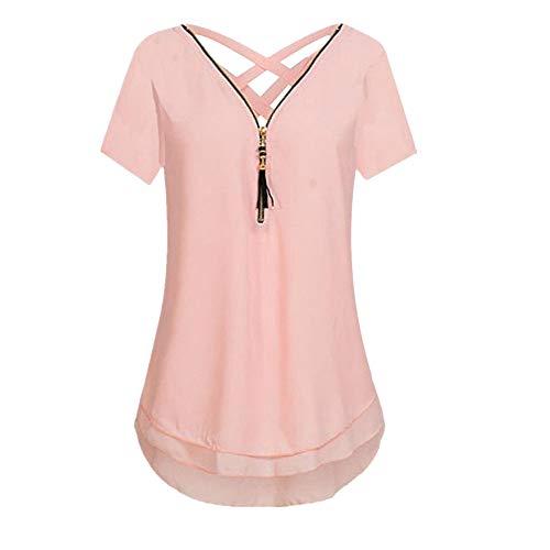 iYBUIA Women Loose Sleeveless Solid Tank Top Cross Back Hem Layed Zipper V-Neck T Shirts ()