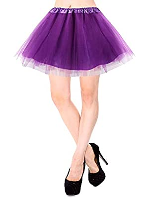Simplicity Women's Classic Elastic 3 or 4 Layered Tulle Tutu Skirt