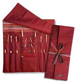 della Q Combo Knitting Case for Straight & Double Point & Circular Knitting Needles; 004 Red Stripes ()