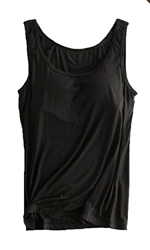 Foxexy Womens Modal Strap Built-in Bra Padded Active Camisole Tank Top Black US 6-8