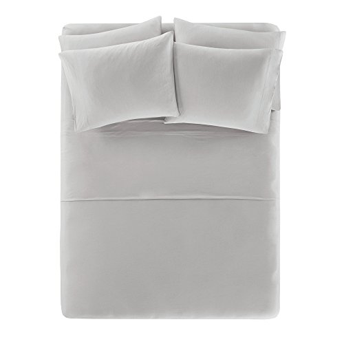 Comfort Spaces Cotton Jersey Knit Sheets Set - Ultra Soft King Bed Sheets with Deep Pocket - Gray Bedding Sets Includes 6 Pieces [ 1 Fitted Sheet,1 Flat Sheet, and 4 Pillow Cases ] King Size Sheets