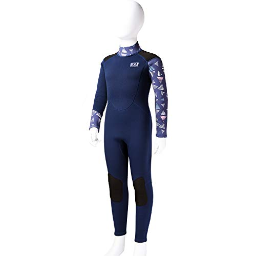 Dark Lightning Youth 3/2mm Wetsuit, 2019 Neoprene Thermal Swimsuit, Girl's One Piece Wet Suits for Professionally Scuba Diving, Full Body Teenage Suit, Size 6