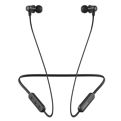 Dudios IPX5 Sweatproof Sports Headphones, Bluetooth Neckband Earbuds CVC6.0 Noise canceling w Mic, HD Sound Lightweight Earphones with 8 Hours Playtime Black