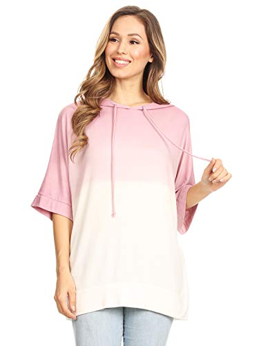 Anna-Kaci Ombre Tie Dye 3/4 Sleeve Loose Fit Drawstring Casual Tunic Hoodie T-Shirt,Mauve,Small