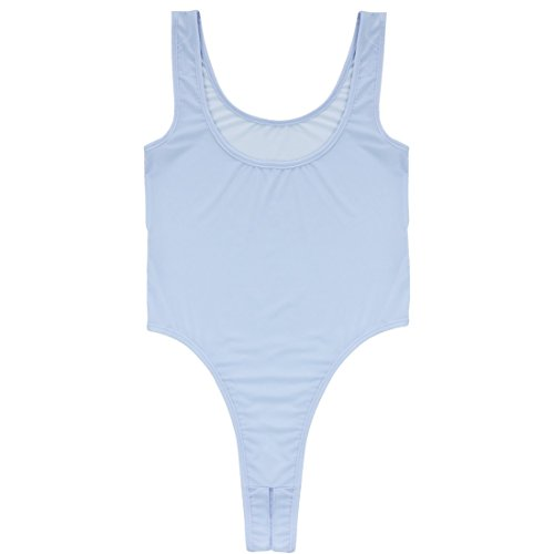 ACSUSS Women's See Through Unlined Thongs Crotchless Bodysuit Mesh Leotard Top Lavender One ()