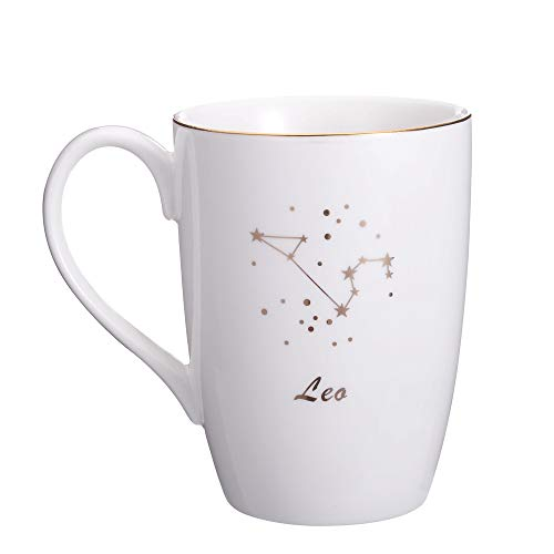 - Danxia Ceramic Constellation Mug Coffee Cup, Gold Plating, Porcelain, White (Leo 14 OZ)