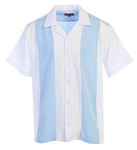 Maximos Men's Retro Charlie Sheen Two Tone Guayabera Bowling Casual Dress Shirt (White/Light Blue, Large)