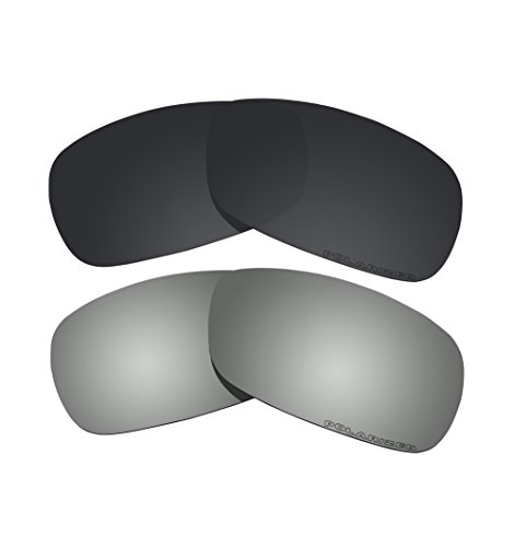2 Pairs BVANQ Polarized Lenses Replacement Black & Black Mirror for Oakley Crosshair 2.0 (OO4044) - Crosshair Polarized