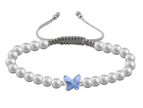 (ChicOpick Butterfly Swarovski Bracelets with Crystal Line and Freshwater Natural Pearl, Easy to Adjust with Handmade Macrame Thread Closure in)