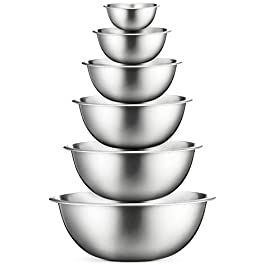 Stainless Steel Mixing Bowls (Set of 6) Stainless Steel Mixing Bowl Set – Easy To Clean, Nesting Bowls for Space Saving…