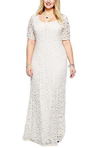 Nemidor Women's Full Lace White Plus Size Wedding Maxi Dress NEM009 (26,White)