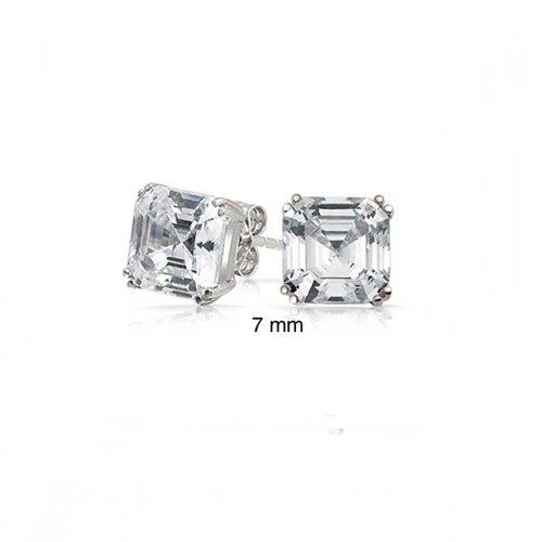 1.5 CTW Solitaire Square Asscher Cut CZ Prong Set Cubic Zirconia Stud Earrings For Women 925 Sterling Silver (Stud Asscher)