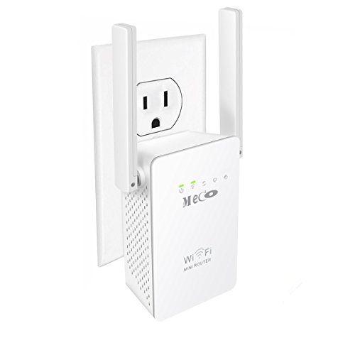 MECO WiFi Range Extender, Wireless Repeater 300Mbps WiFi Signal Amplifier Supports Repeater/Access Point/Router Mode with Two Network Interfaces by MECO