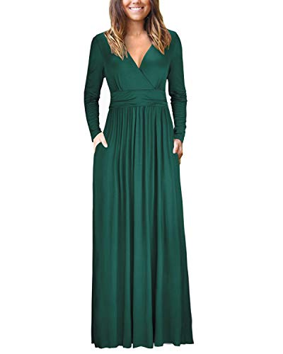 OUGES Womens Long Sleeve V-Neck Wrap Waist Maxi Dress(Green,S) ()