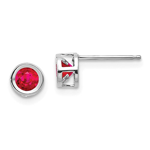 14k White Gold 4mm July Red Ruby Post Stud Earrings Birthstone Fine Jewelry For Women Gift Set ()