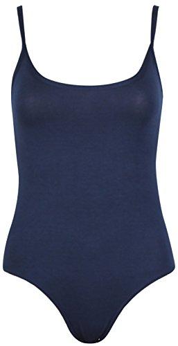 Body para mujer, diseño liso, con tirantes, sin mangas, cuello redondo, cierre de botón azul marino
