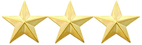 First Class Three Star Rank Collar Lapel Pin Insignia (Pair) - Brass