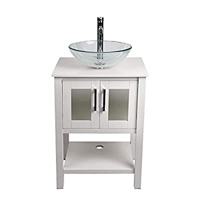 """24"""" Bathroom Vanity and Sink Combo - Traditional Vanity Cabinet with and Tempered Glass Vessel Counter Top Sink Basin Eco MDF Board Faucet Pop-up Drain Set"""