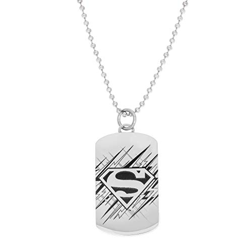 DC Comics Super Man Jewelry, Stainless Steel Dog Tag Pendant Necklace, 22