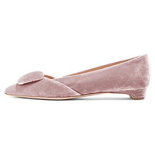 Fsj Donne Comode Scarpe Tacco Basso Scarpe A Punta Scarpe Con Fibbia Slip On Office Dress Shoes Size 4-15 Us Pink