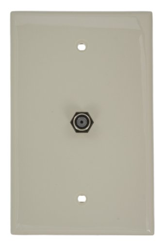 Leviton 40539-MT Midsize Video Wall Jack, F Connector, Light Almond
