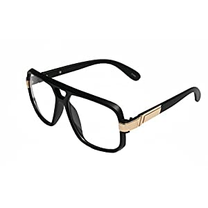 VW Eyewear - Classic Square Frame Plastic Flat Top Aviator Glasses /w Metal Trimming and Clear Lens (Matte black gold)