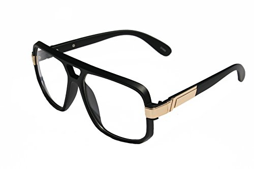 VW Eyewear - Classic Square Frame Plastic Flat Top Aviator Glasses /w Metal Trimming and Clear Lens (Matte black - Plastic Glasses Lenses