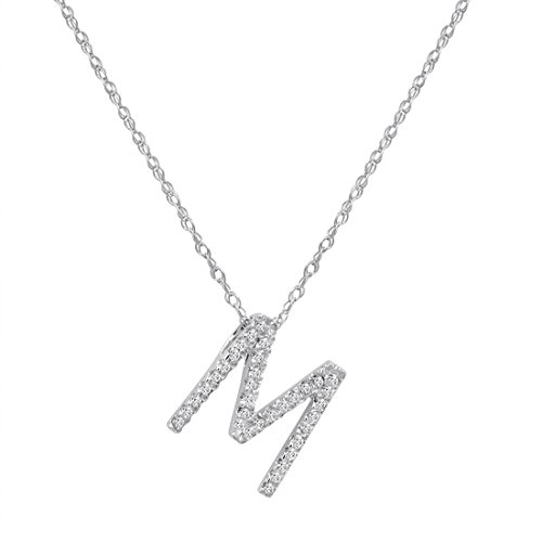 "14K White Gold Diamond""M"" Initial Pendant, 16"" Necklace"
