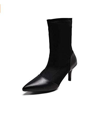 Qiusa High Heels Heels Heels High Heels Stiefeletten elastische High Heels Stiefeletten Damen Stiletto Stil Spitze Persönlichkeit (Farbe   Schwarz, Größe   35) bb1dfb