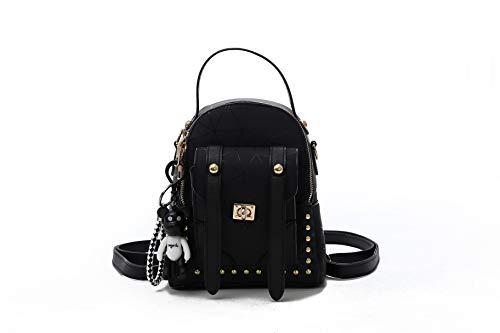 TF Mini Backpack Purse Handbag Shoulder Bag for Daily Work Hiking Travel School (BLACK)