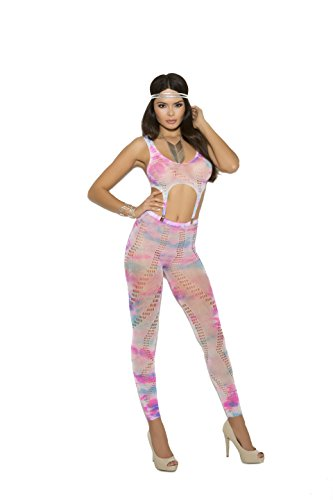 Zabeanco Crochet Footless Bodystocking with Garter Clip Detail(One Size, Tie Dye) -