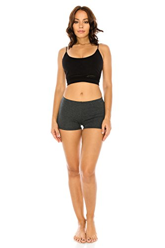 LATS Women's Stretch Solid Activewear Dance Yoga Athletic Booty Running Shorts Leggings Pants S to 3XL (2XL, Charcoal)