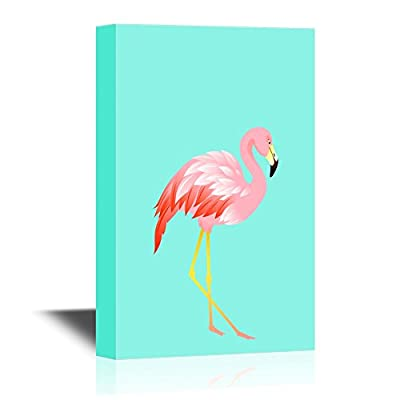 Canvas Wall Art - A Flamingo on Solid Teal Background - Gallery Wrap Modern Home Art | Ready to Hang - 12x18 inches