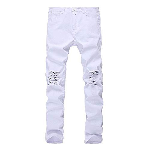 Bianca 33 Skinny colore Da Weentop Jeans Fit Slim Bianca Dimensione Strappati Distrutti Uomo awS4qzPx