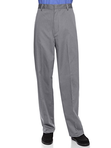 - AKA Half Elastic Wrinkle Free Flat Front Men's Slacks - Relaxed Fit Twill Casual Pant Grey 44 Medium