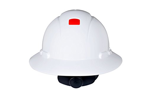 3M Full Brim Hard Hat H-801R-UV, 4-Point Ratchet Suspension, Uvicator, White