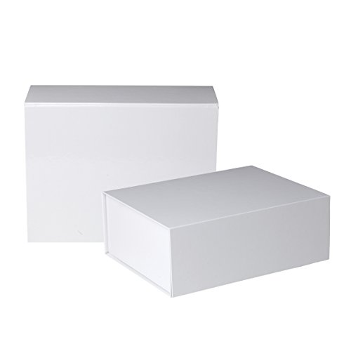 (Jillson Roberts 2-Count Large Magnetic Closure Gift Boxes Available in 5 Colors, White Gloss)