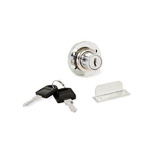 Emuca 1275111 Cerradura de cilindro con 2 llaves y placa de bloqueo para mueble o cajon