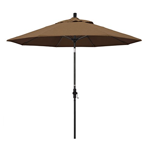 California Umbrella 9' Round Aluminum Pole Fiberglass Rib Market Umbrella, Crank Lift, Collar Tilt, Black Pole, Sunbrella Teak