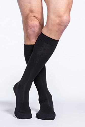 SIGVARIS Men's Essential Cotton 230 Closed Toe Calf-High Socks w/Grip Top 30-40mmHg