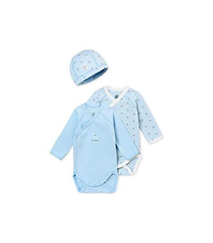 - Petit Bateau Newborn Gift Set: Two Long Sleeve Bodysuits and HAT Blue