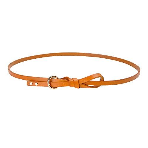 Womens Genuine Leather Knot Belt Thin Skinny Waist Belt for Dresses 0.4