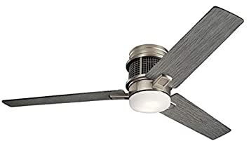 Kichler 300352NI Chiara 52 Hugger Ceiling Fan with LED Lights and Wall Control, Brushed Nickel
