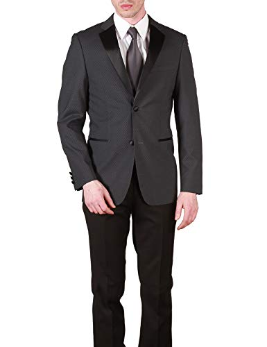 Caravelli Men's 613102 Slim Fit Textured Top 2-Piece Tuxedo - Charcoal - 34S ()