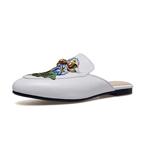 Bordado Retro Verano Mujeres Flores Modular Baotou De Muller color Carrefour Classic Sandalias Horsebit Slipper Zapatos 34 Metal Tamaño Half Jianxin Blanco qfwt7xW