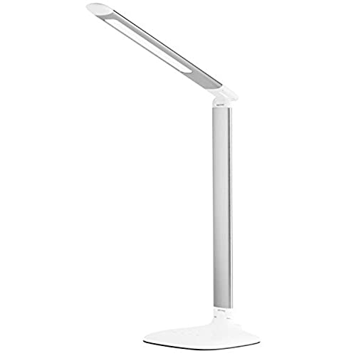 Eros foldable dimmable led desk lamp with easy touch operation 6 level dimmer built in usb charging port silver